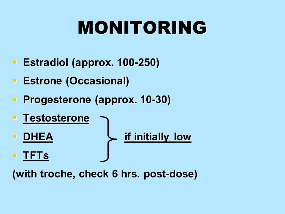 MONITORING Estradiol (approx. 100-250) Estrone (Occasional)