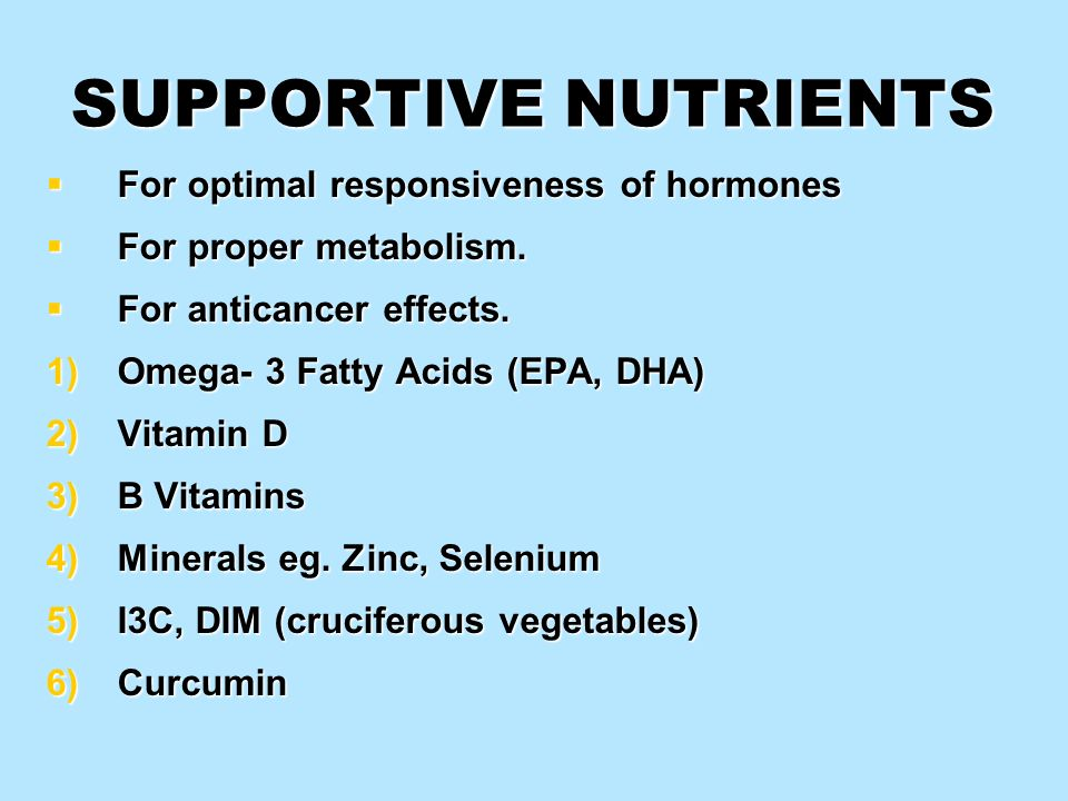 SUPPORTIVE NUTRIENTS For optimal responsiveness of hormones