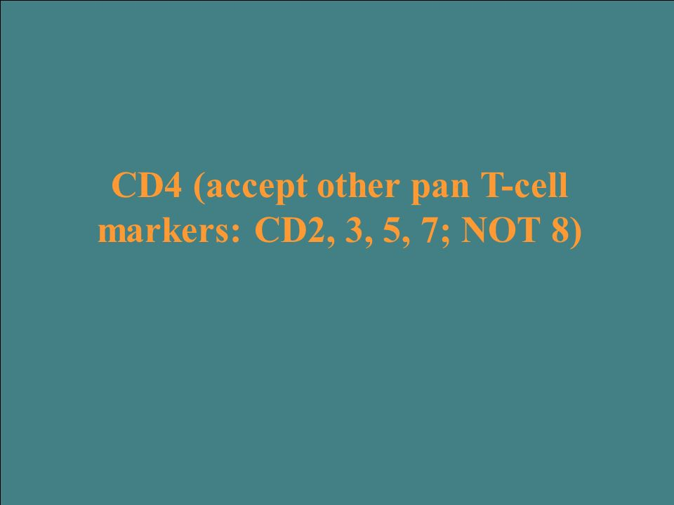 CD4 (accept other pan T-cell markers: CD2, 3, 5, 7; NOT 8)
