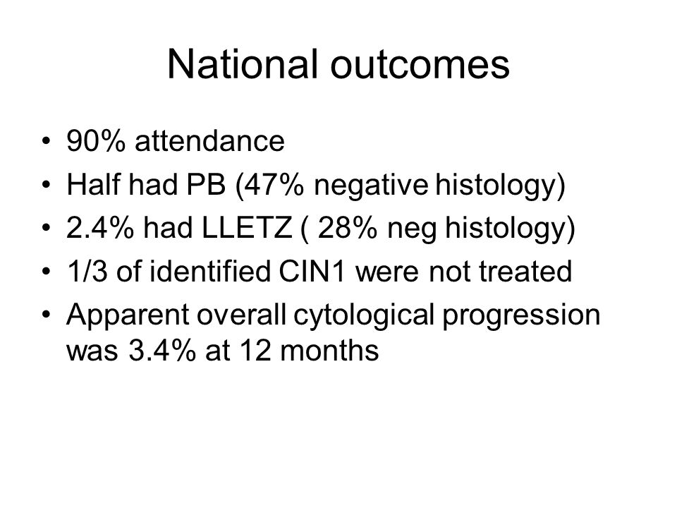 National outcomes 90% attendance Half had PB (47% negative histology)