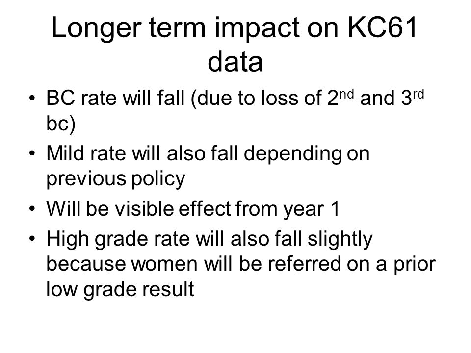 Longer term impact on KC61 data