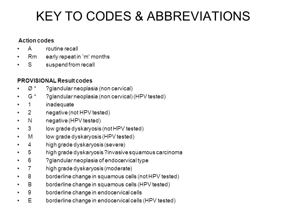KEY TO CODES & ABBREVIATIONS