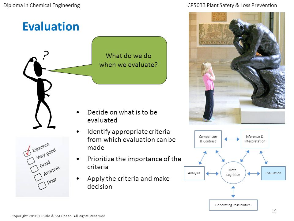 Evaluation What do we do when we evaluate