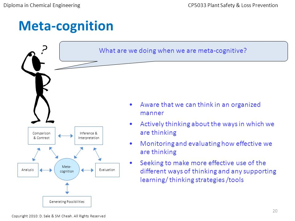 Meta-cognition What are we doing when we are meta-cognitive