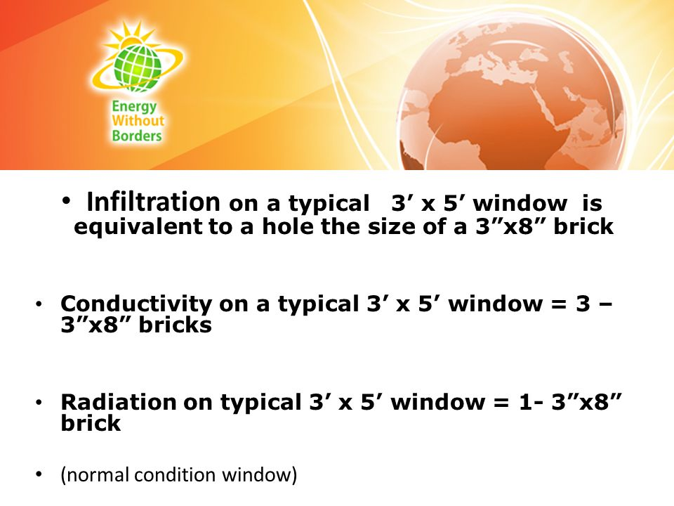 Infiltration on a typical 3' x 5' window is equivalent to a hole the size of a 3 x8 brick