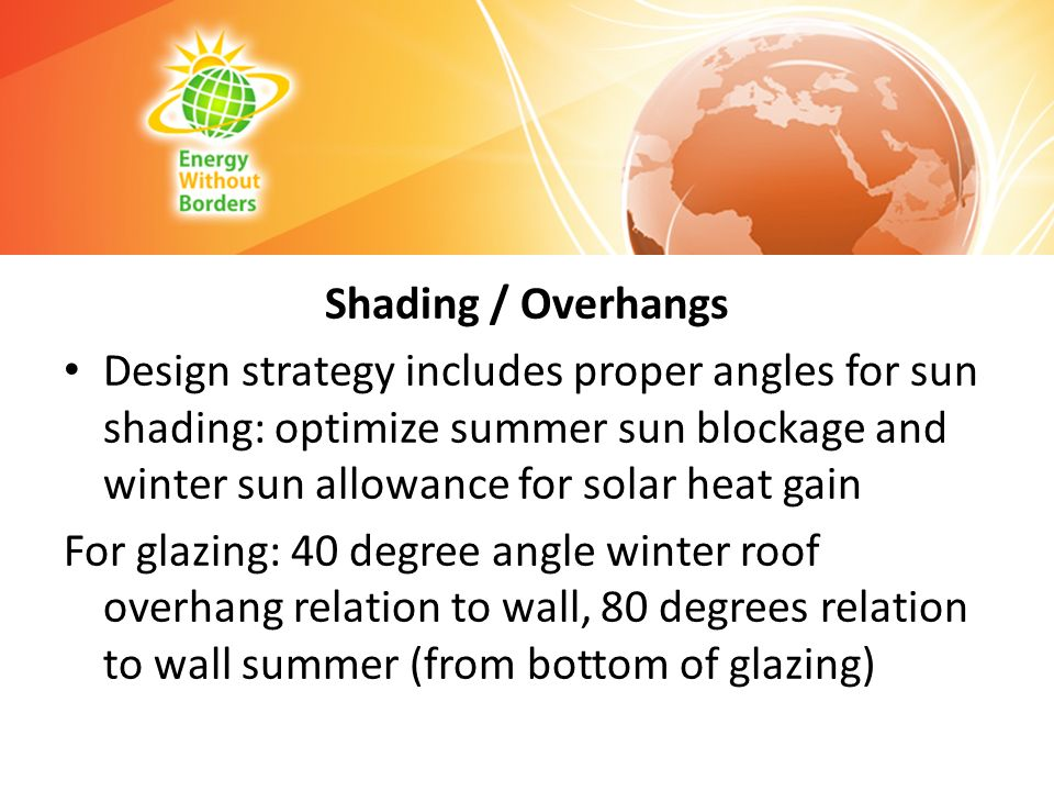 Shading / Overhangs Design strategy includes proper angles for sun shading: optimize summer sun blockage and winter sun allowance for solar heat gain.