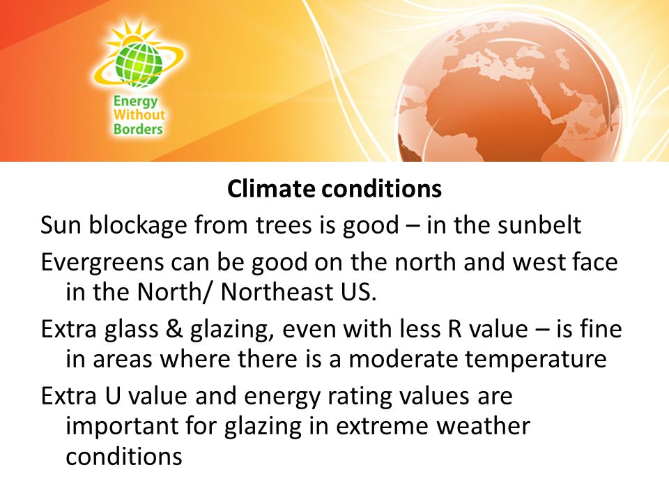 Climate conditions Sun blockage from trees is good – in the sunbelt Evergreens can be good on the north and west face in the North/ Northeast US.
