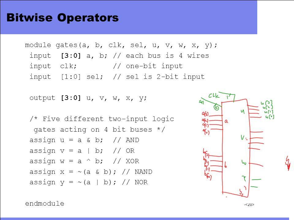 Bitwise Operators module gates(a, b, clk, sel, u, v, w, x, y);