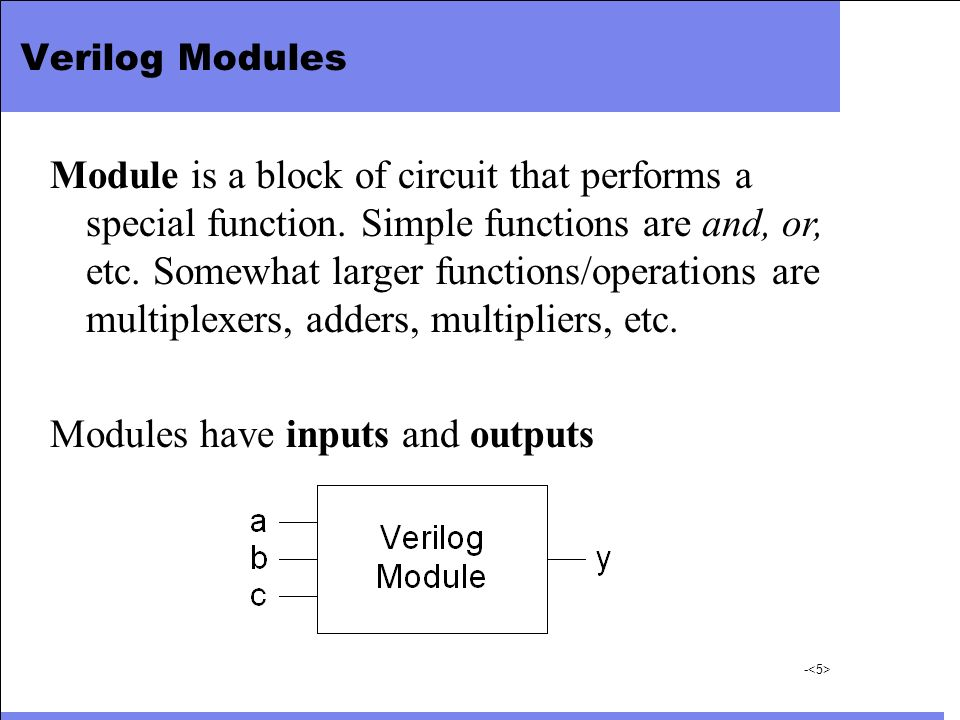 Modules have inputs and outputs