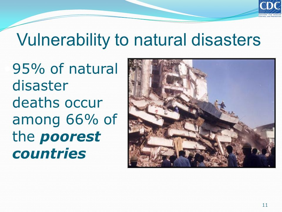 Vulnerability to natural disasters