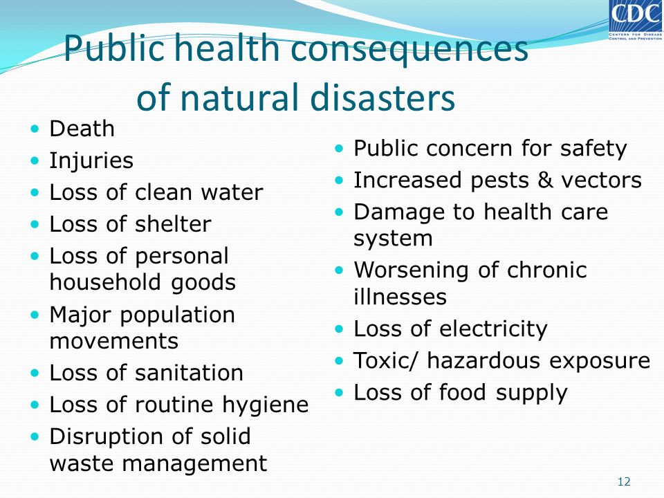 Public health consequences of natural disasters