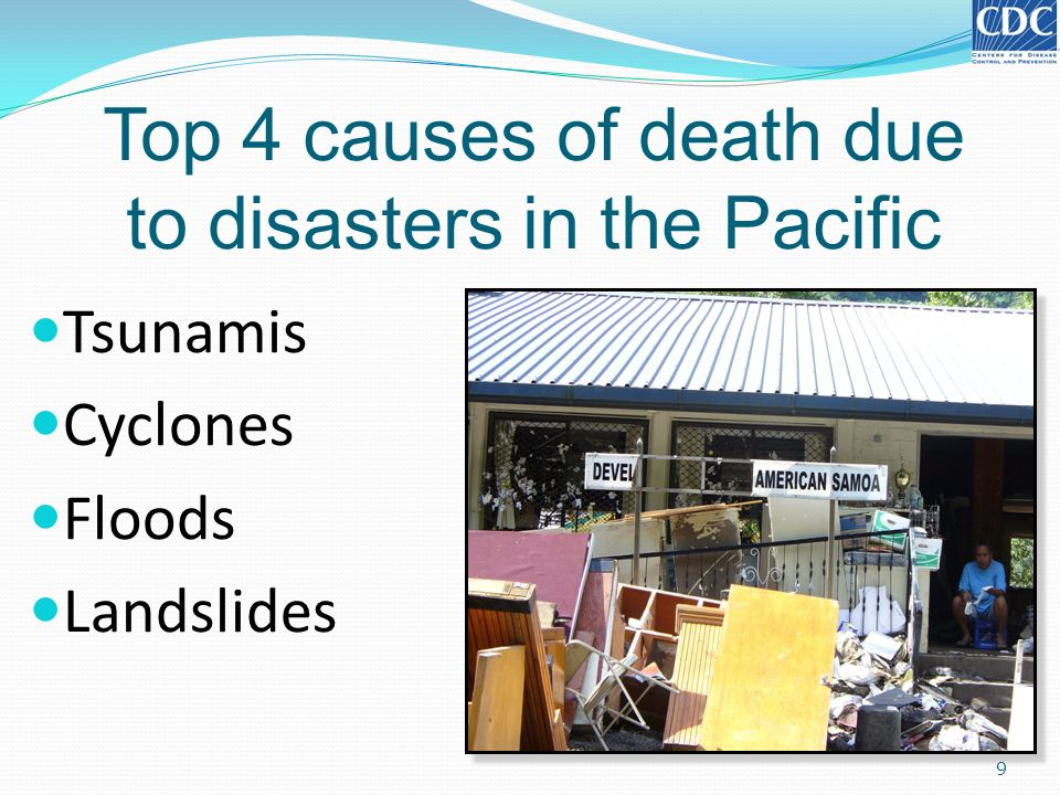 Top 4 causes of death due to disasters in the Pacific
