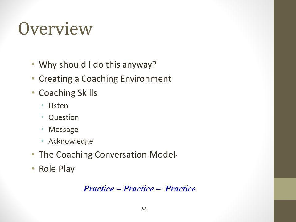 Overview Why should I do this anyway Creating a Coaching Environment