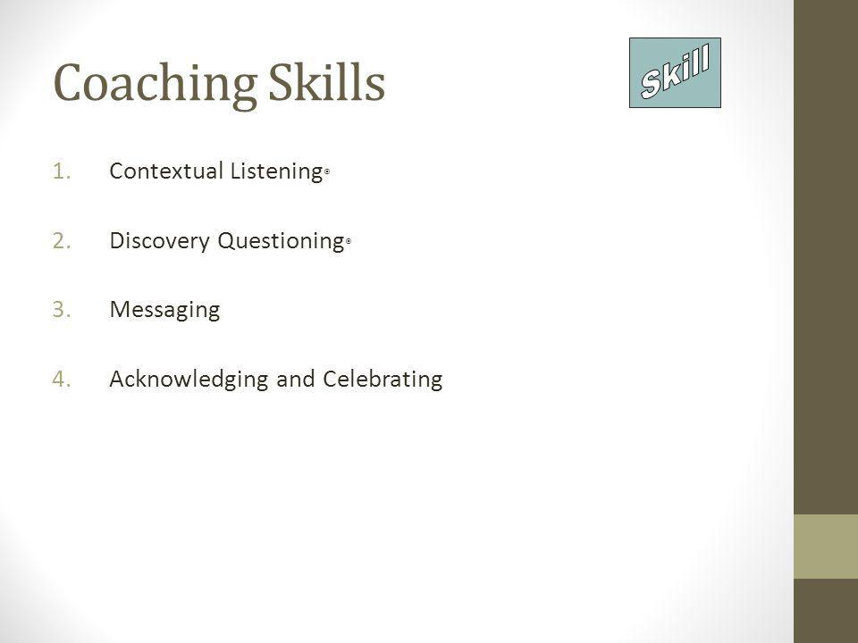 Coaching Skills Skill Contextual Listening® Discovery Questioning®