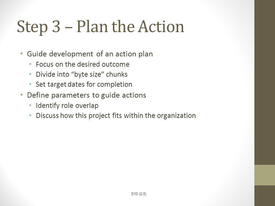 Step 3 – Plan the Action Guide development of an action plan