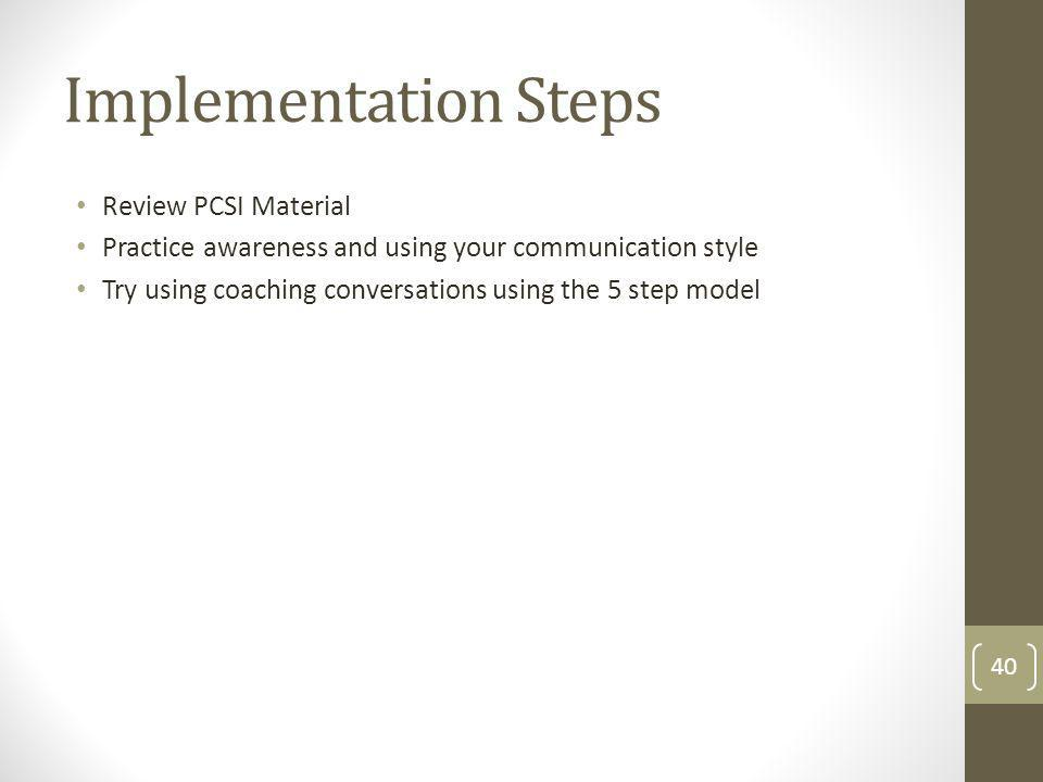 Implementation Steps Review PCSI Material