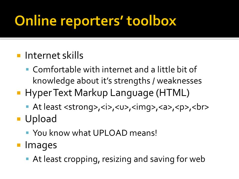 Online reporters' toolbox