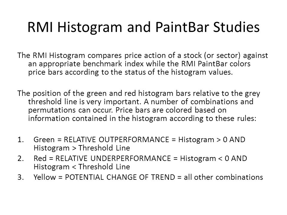 RMI Histogram and PaintBar Studies