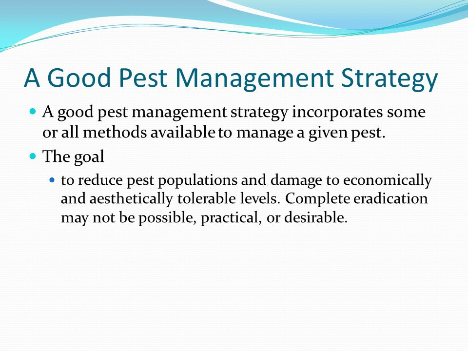 A Good Pest Management Strategy