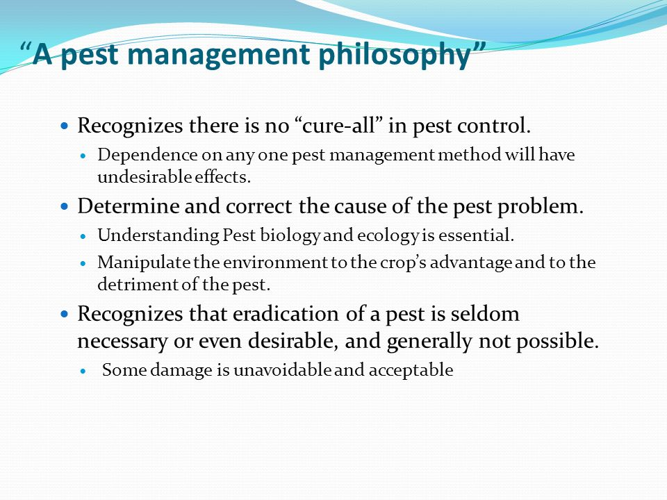 A pest management philosophy