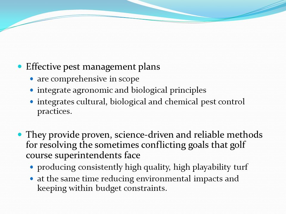Effective pest management plans