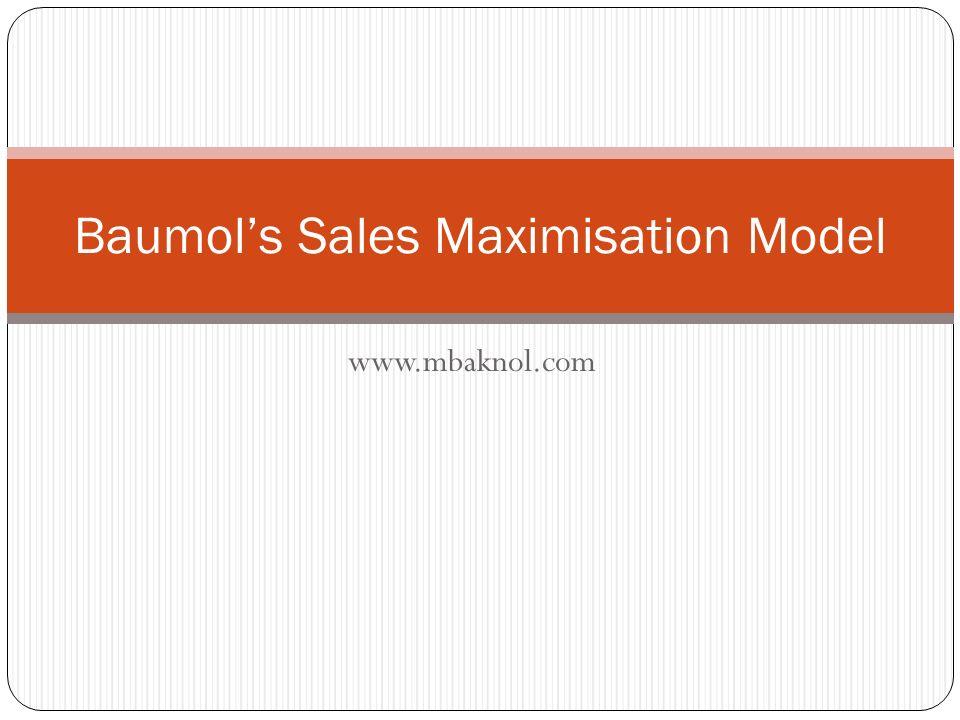 sales maximisation baumol 1959