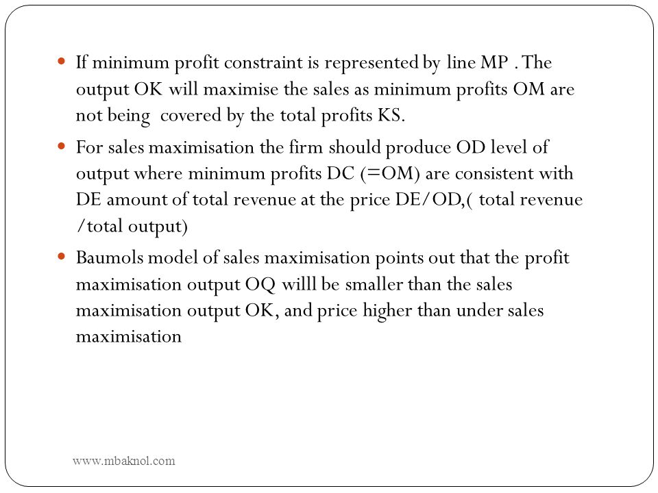 If minimum profit constraint is represented by line MP