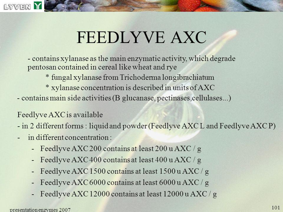 LYVEN FEEDLYVE AXC. - contains xylanase as the main enzymatic activity, which degrade pentosan contained in cereal like wheat and rye.