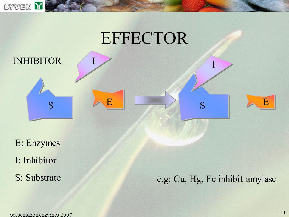 EFFECTOR INHIBITOR I I E E S S E: Enzymes I: Inhibitor S: Substrate