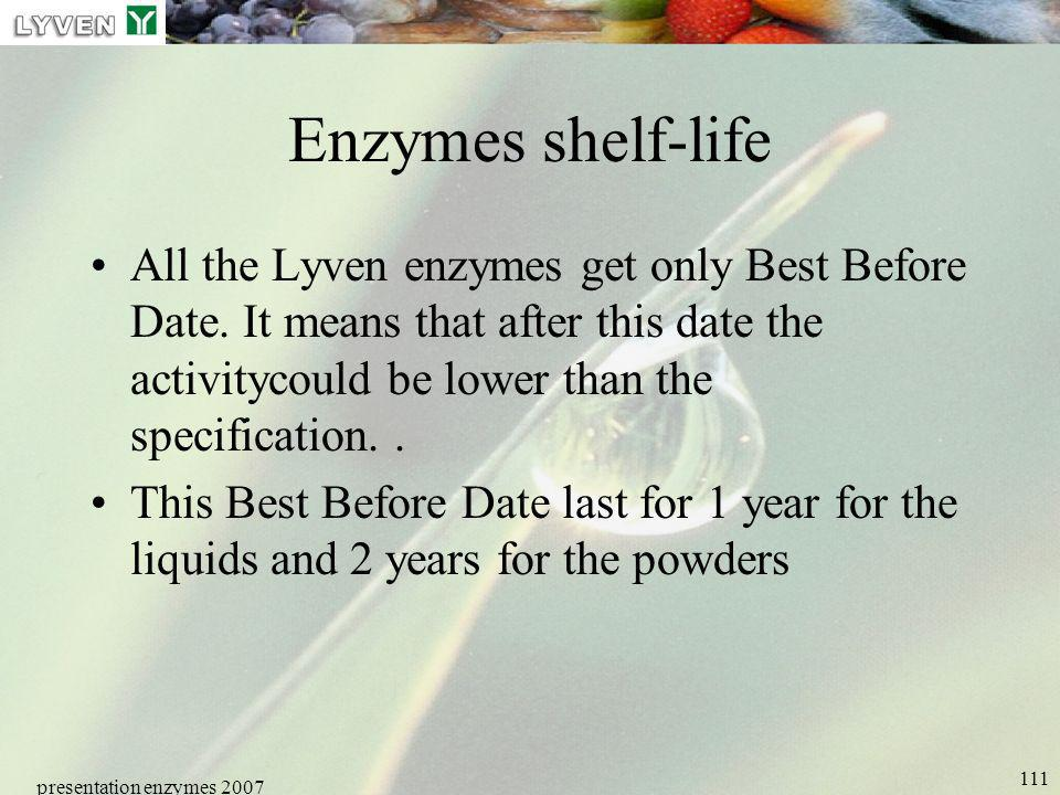 LYVEN Enzymes shelf-life.