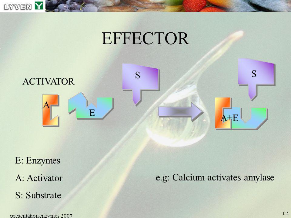 EFFECTOR S S ACTIVATOR A E A+E E: Enzymes A: Activator S: Substrate