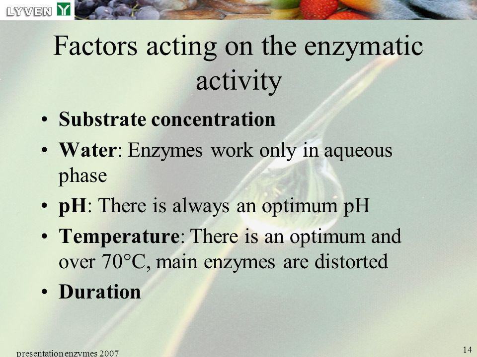Factors acting on the enzymatic activity