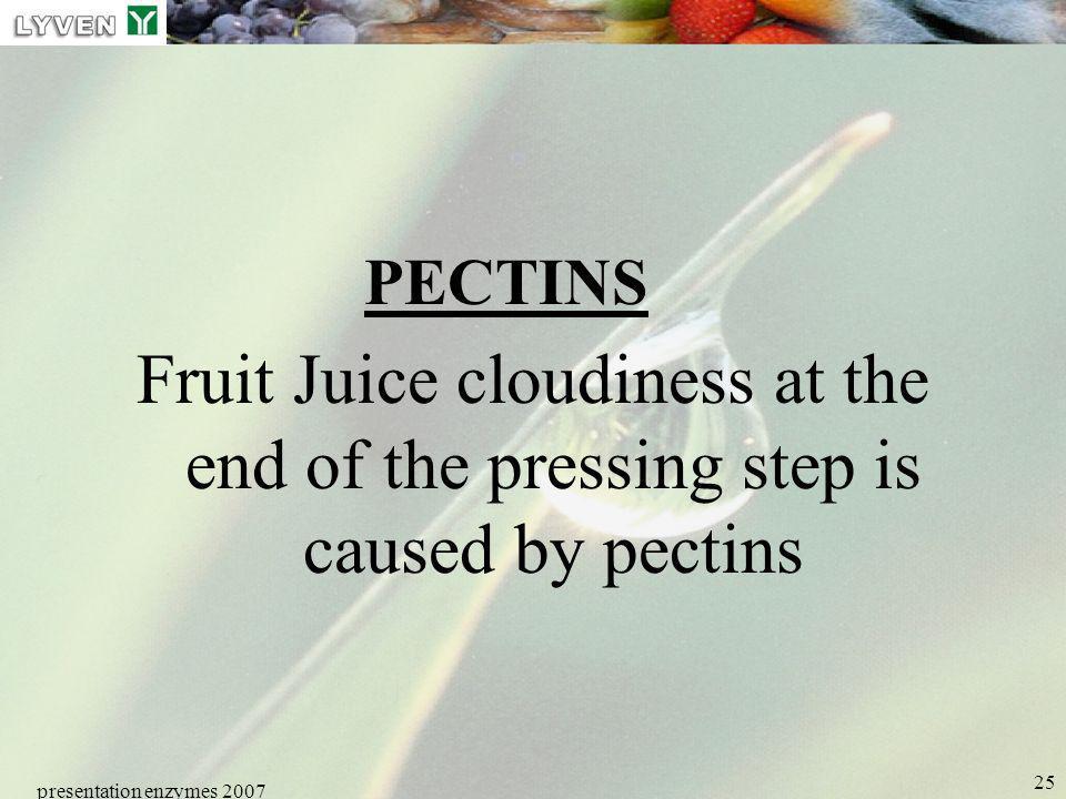 LYVEN PECTINS. Fruit Juice cloudiness at the end of the pressing step is caused by pectins. presentation enzymes 2007.