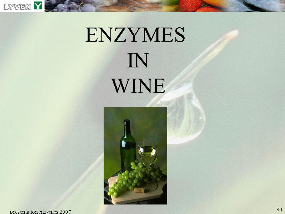 LYVEN ENZYMES IN WINE presentation enzymes 2007 Enzymes PRESENTATION