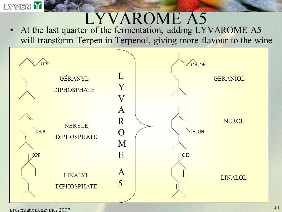 LYVEN LYVAROME A5. At the last quarter of the fermentation, adding LYVAROME A5 will transform Terpen in Terpenol, giving more flavour to the wine.