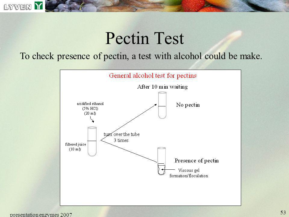 LYVEN Pectin Test. To check presence of pectin, a test with alcohol could be make. presentation enzymes 2007.