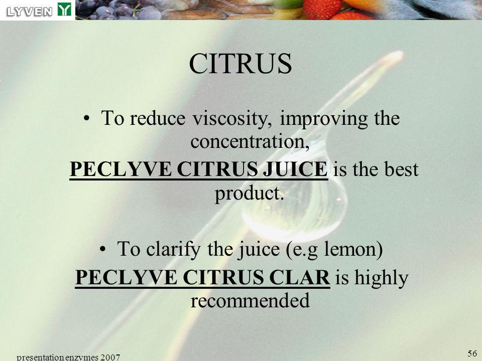 CITRUS To reduce viscosity, improving the concentration,