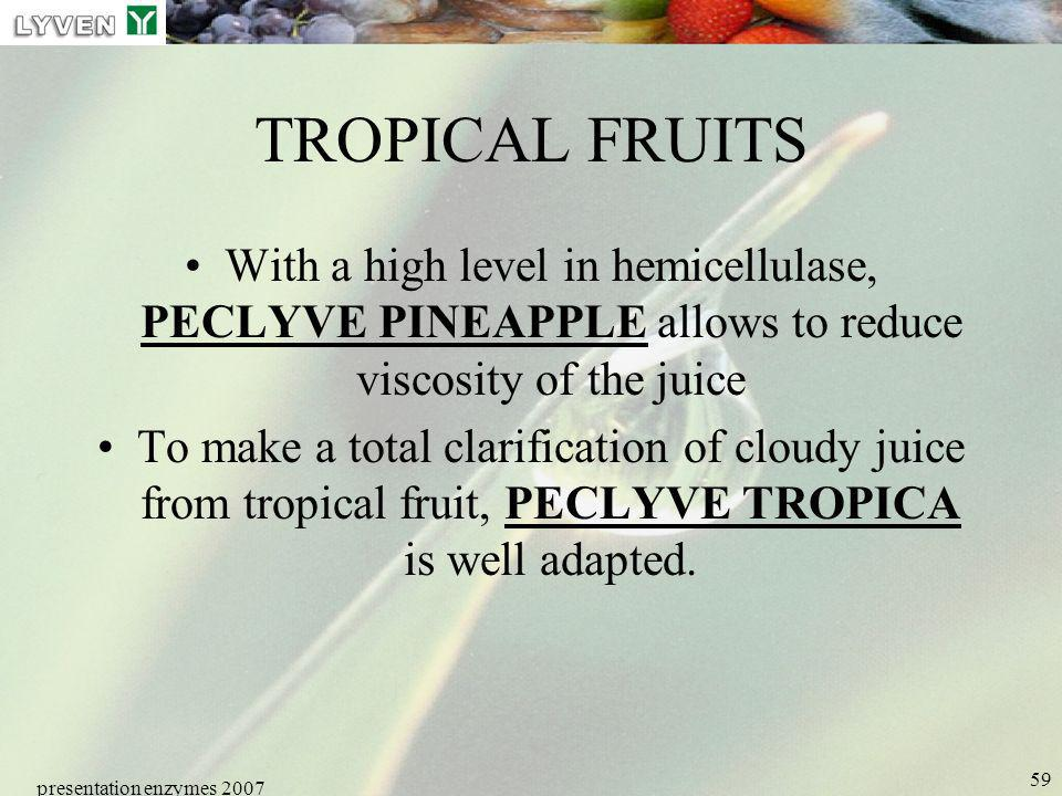 LYVEN TROPICAL FRUITS. With a high level in hemicellulase, PECLYVE PINEAPPLE allows to reduce viscosity of the juice.