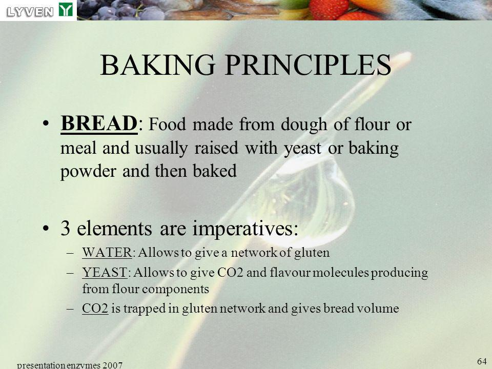 LYVEN BAKING PRINCIPLES. BREAD: Food made from dough of flour or meal and usually raised with yeast or baking powder and then baked.