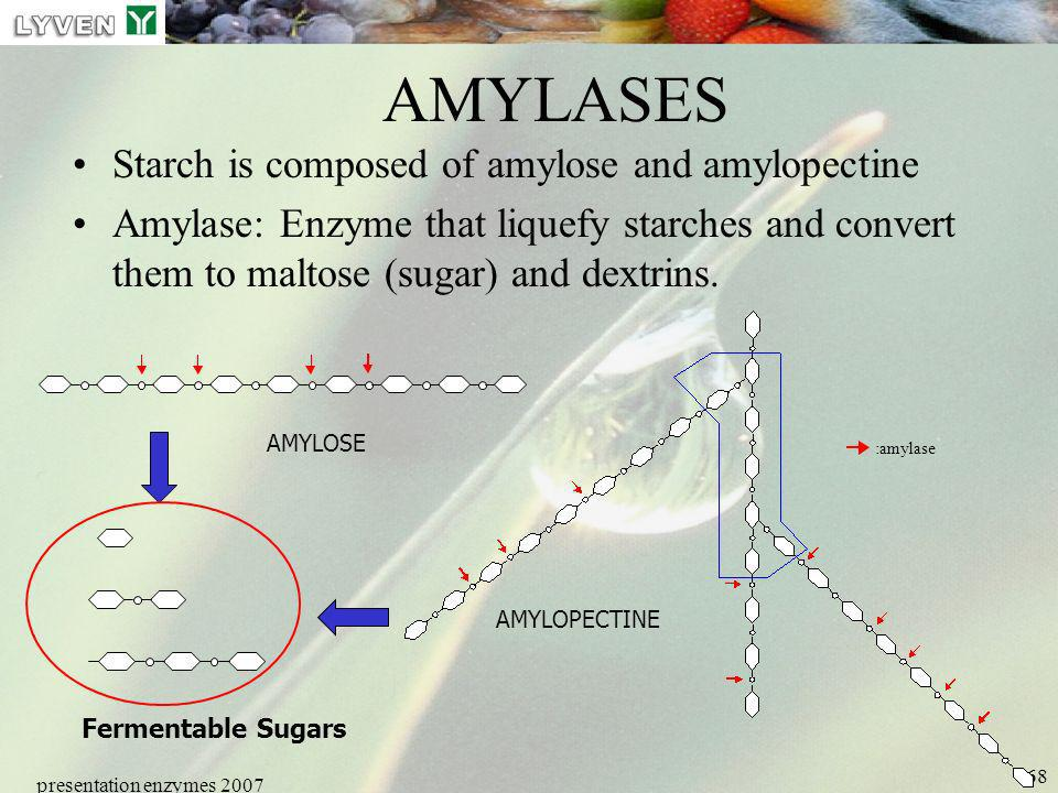 AMYLASES Starch is composed of amylose and amylopectine