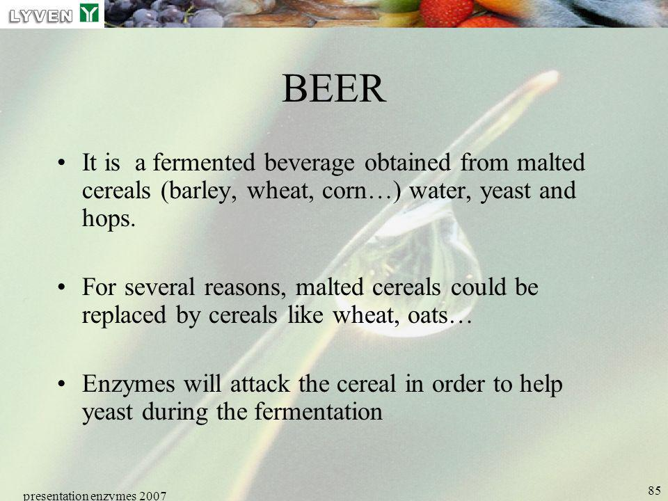 LYVEN BEER. It is a fermented beverage obtained from malted cereals (barley, wheat, corn…) water, yeast and hops.