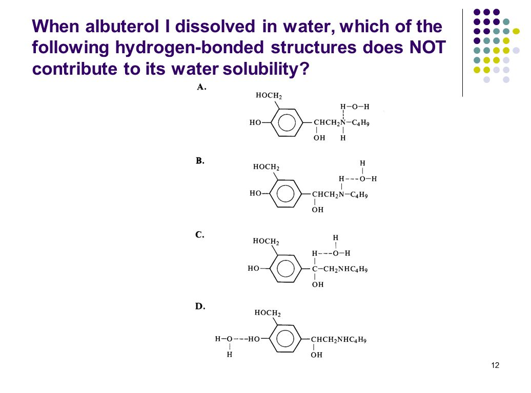When albuterol I dissolved in water, which of the following hydrogen-bonded structures does NOT contribute to its water solubility