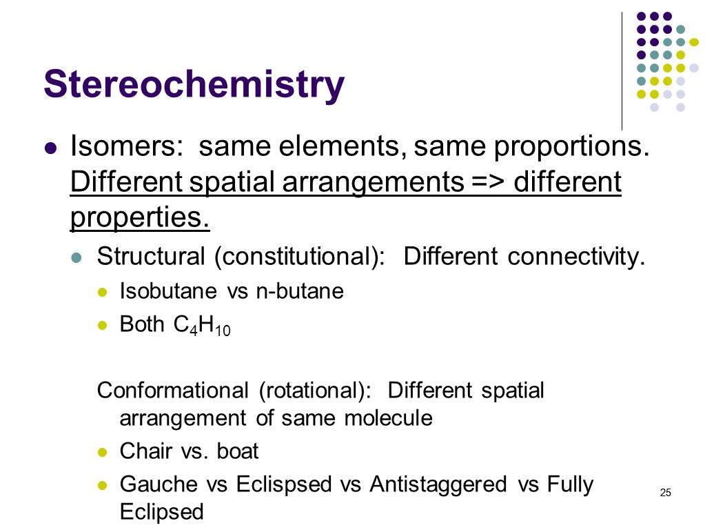 Stereochemistry Isomers: same elements, same proportions. Different spatial arrangements => different properties.
