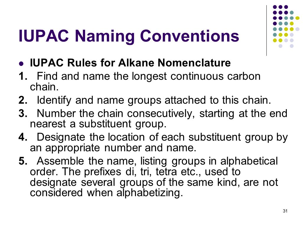 IUPAC Naming Conventions
