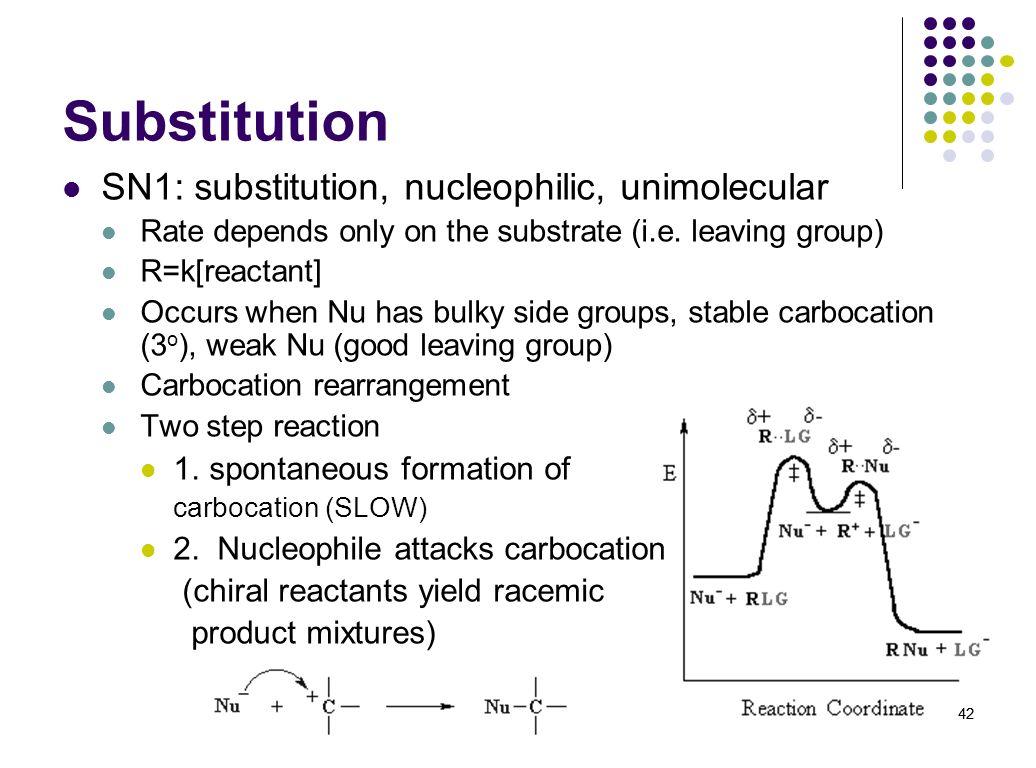 Substitution SN1: substitution, nucleophilic, unimolecular