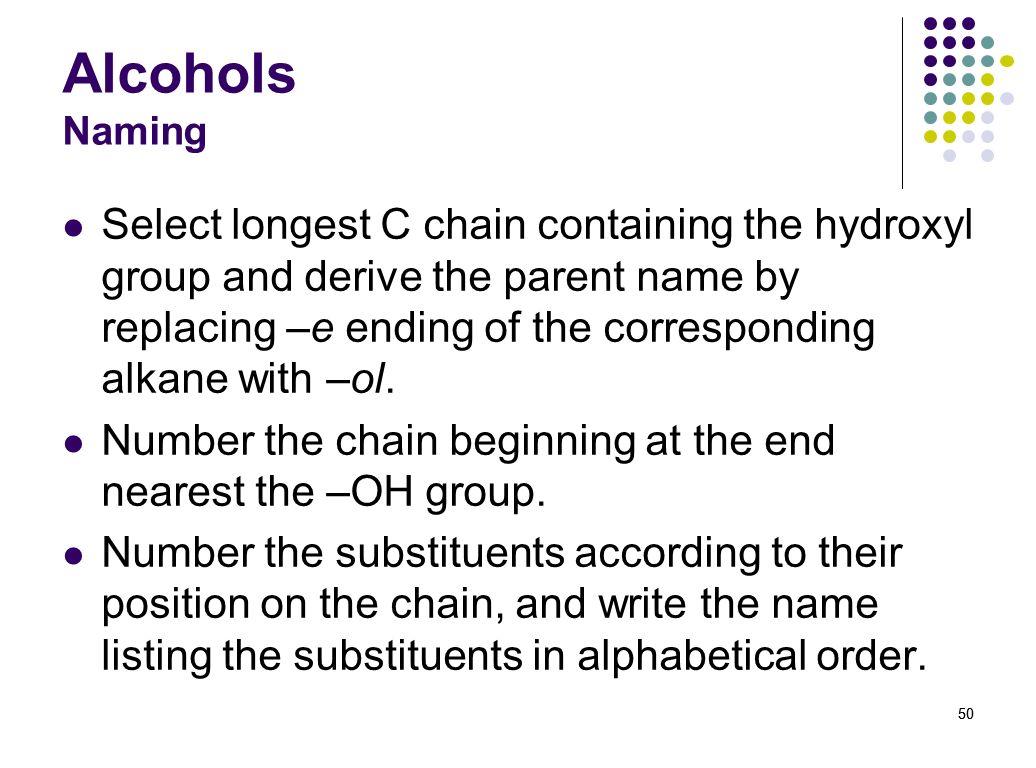 Alcohols Naming
