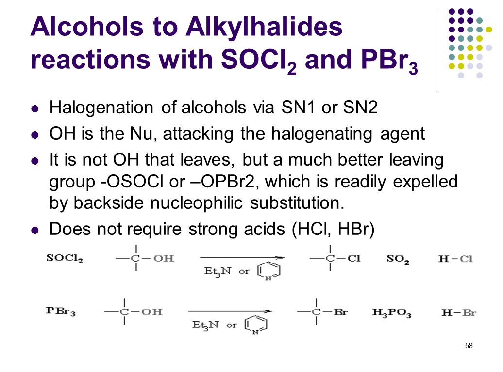 Alcohols to Alkylhalides reactions with SOCl2 and PBr3