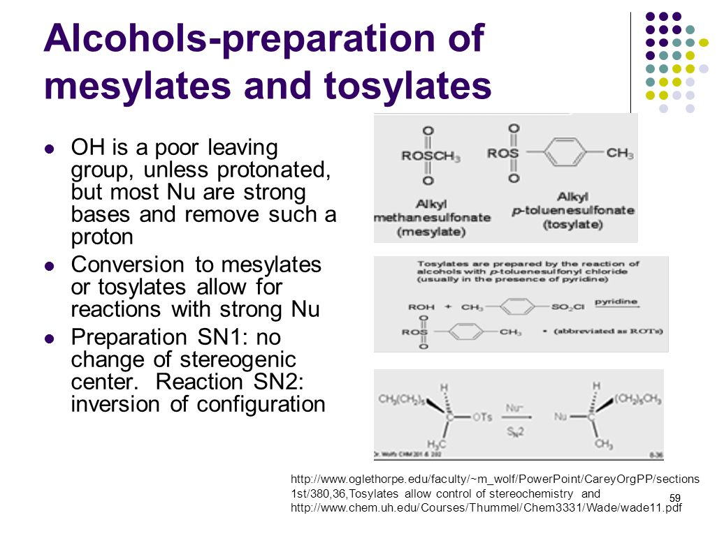 Alcohols-preparation of mesylates and tosylates