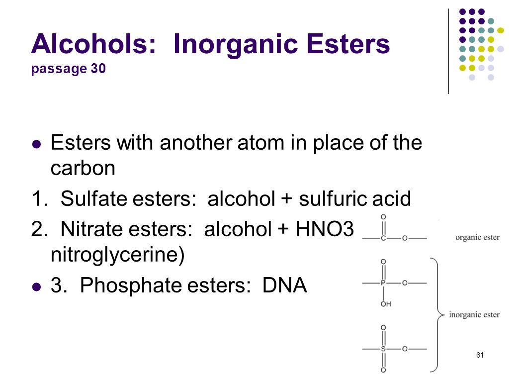 Alcohols: Inorganic Esters passage 30