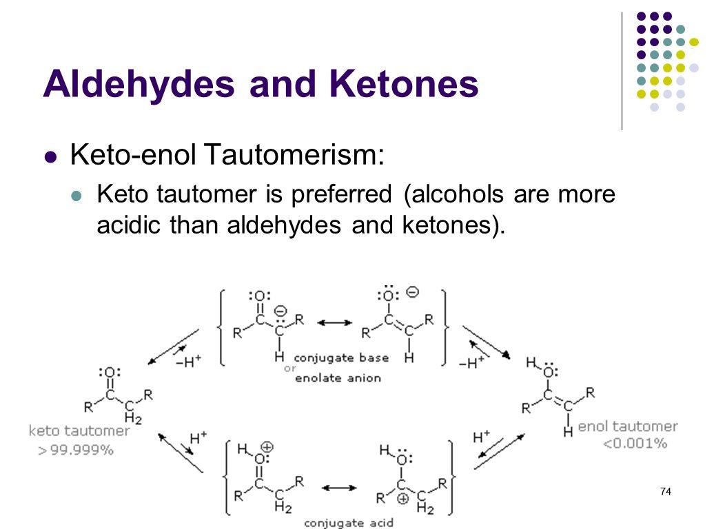 Aldehydes and Ketones Keto-enol Tautomerism: